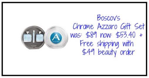 Boscov's ~  Chrome Azzaro Gift Set  ~ was: $89 now: $53.40 + Free shipping with $49 beauty order  Delight that special man in your life with this Chrome Azzaro gift set featuring the 3.4 oz. Eau de Toilette Spray, 3.4 oz. After Shave Lotion, and for the first time the 0.5 oz. Travel Spray. This must-have gift set comes in a modern rounded metallic box.
