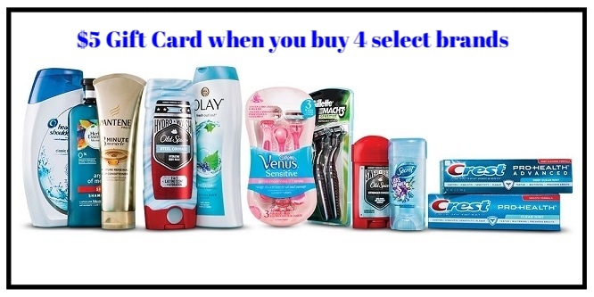 Target ~ $5 Gift Card when you buy 4 select Aussie, Head & Shoulders, Herbal Essences, Pantene, Olay, Old Spice, Secret, Venus, Gillette, Oral-B or Crest beauty, and personal care items (Expires 9/2/2017 at 11:59 pm PT.) + Free shipping with $35 order