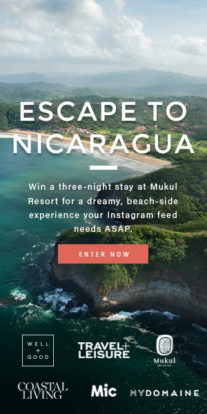 ESCAPE TO NICARAGUA   Win a three-night stay at Mukul Resort for a dreamy, beach-side experience your Instagram feed needs ASAP.      Enter now for a chance to win :    +Three-night accommodation for you and a guest at Mukul Beach, Golf & Spa  +Delicious food and beverages for two +One spa treatment for you and your guest +Up to two addional activities per person, including surf lessons +Ground transportation to and from the airport  (Open to anyone who is at least eighteen (18) years of age who are permanent legal residents of the 47 United States of America (excluding residents of Alaska, Hawaii, Rhode Island, overseas military installations, Puerto Rico, the District of Columbia, and other U.S. Territories) and has a valid email address.Ends at 11:59 pm EST on August 31, 2017)