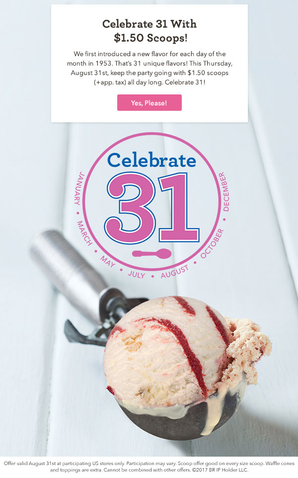Baskins Robbins ~ Today only ~ $1.50 Scoops at participating stores! Find your location here!