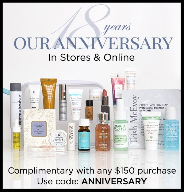 Bluemercury ~ Free 21-Piece Gift with promo code: ANNIVERSARY with $150 purchase (While supplies last!) + 3 free samples with any order + Free 2-Day shipping and free returns!