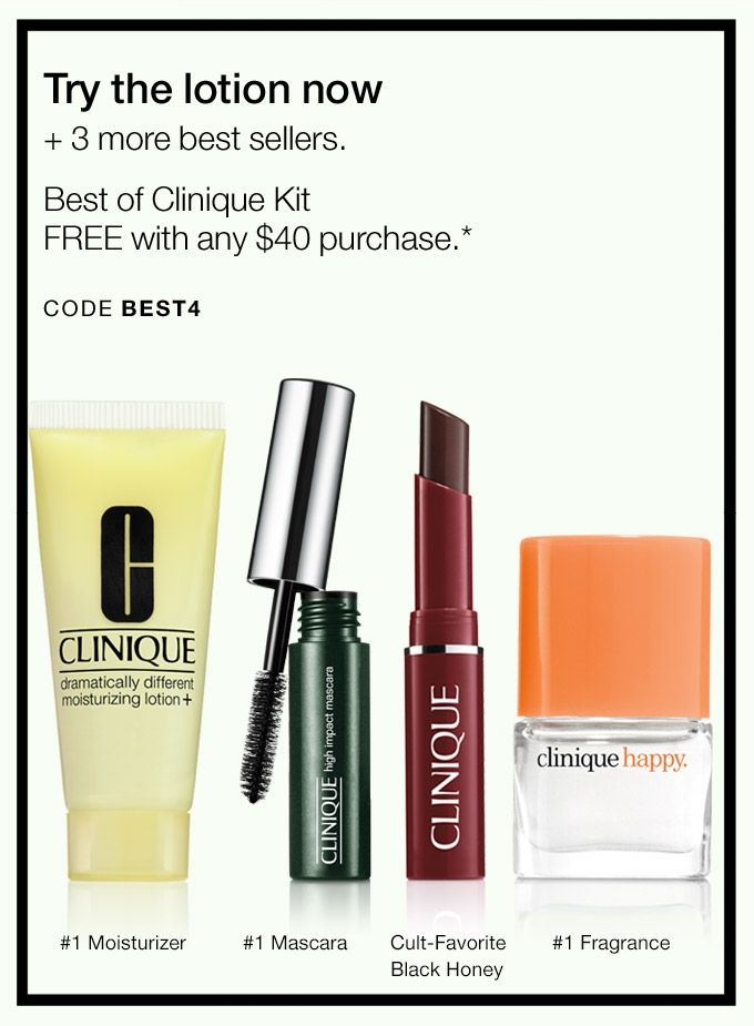 Clinique ~ Free 4-Piece Gift with $40 purchase with promo code: BEST4 (Ends 9/9 at 11:59pm PST) + Free shipping with $50 order or Smart Rewards Members receive free shipping on any order.If you're not a Smart Rewards Member, it's free to sign-up here!