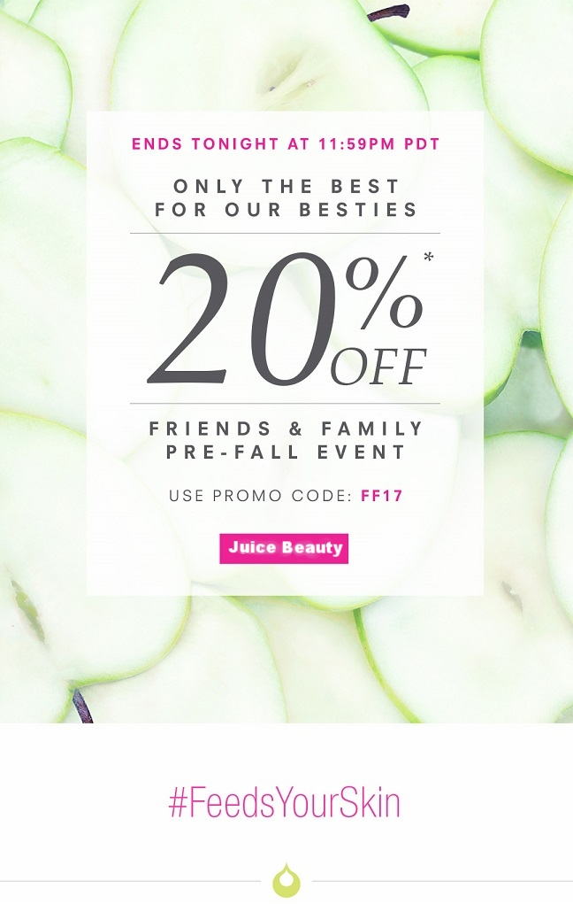Juice Beauty ~ 20% Off with promo code: FF17 (Ends 9/8 at 11:59 PDT ) + Free sample with every order + Free shipping with $30 order