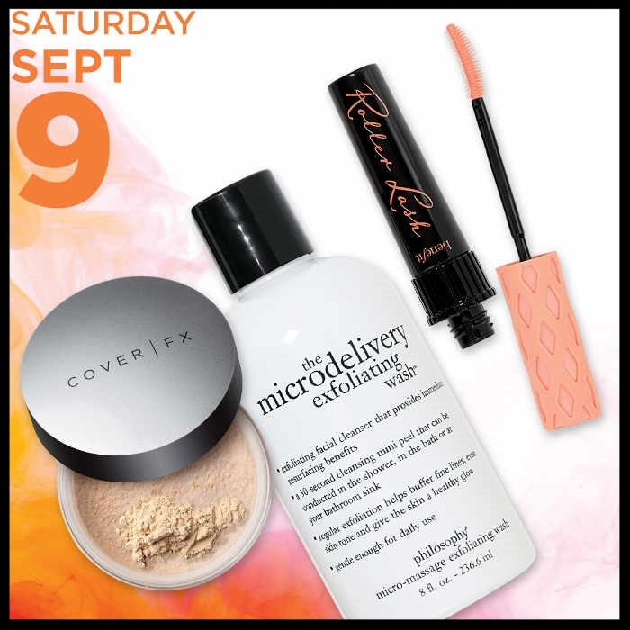 Ulta~ 21 Days of Beauty Event ~PHILOSOPHY The Microdelivery Exfoliating Facial Wash (8 oz.)50% OFF\Reg: $28 Now: $14 plus FREE deluxe 6-piece Gift with $50 Philosophy Skincare or Color purchase/BENEFIT Roller Lash Lifting Mascara50% OFFReg: $24 Now: $12 Plus FREE Makeup Bag with any $45 Benefit purchase and FREE deluxe Gimme Brow Volumizing Fiber Gel with any $45 Benefit purchase /COVER FX Perfect Setting Powder (ONLINE ONLY)50% OFFReg: $35 Now: $17.50 + Ulta Beauty Deals:Ulta Foundation, Brushes, and Luxe Bath~ Reg: $10 - $20 now: $6 each (Ends 9/9) + $3.50 OFF YOUR $15 PURCHASE with promo code: 503701 (Ends 9/23 and excludes prestige brands)+ Free Beauty Steals ship free for Platinum Ultamate Rewards Members or Free shipping with $50 order + free samples with any order +5X Points on Foreo for Ultamate Rewards Members (Ends 9/9/17) +5X Points - Yves Saint Laurent Black Opium Fragrance Crush for Ultamate Rewards Members (Ends 9/30/17) +3X Points for Ultamate Rewards Member or 5X Points for Ultamate Rewards Platinum Member on All Purchases (Ends 9/10/17) +Free TOO FACED Deluxe Hangover Primer with any purchase(Just add to cart)