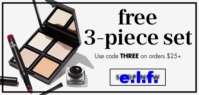 e.l.f. cosmetics ~ Free 3-Piece Gift with $25 order with promo code: THREE (Ends 9/11 at 11:59 PM) + Free shipping with $25 order