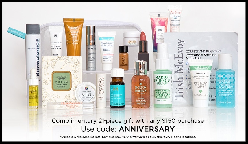 Bluemercury  ~ Free 21-Piece Gift with any $150 purchase with promo code: ANNIVERSARY + 3 free samples with any order + Free 2-Day Shipping and returns