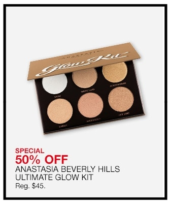 Macy's ~ Anastasia Beverly Hills Ultimate Glow Kit ~ was: $45 now $22.50 + Receive A FREE Mystery Gift With Any $50 Online Beauty Purchase + Free shipping and returns on any beauty order Six metallic powder highlighters for intense luminosity. Complementing shades can be layered together or worn separately.