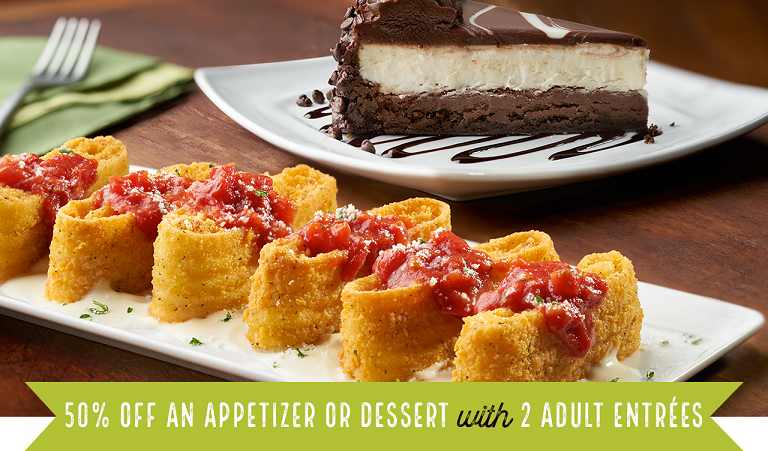 Olive Garden ~ Free Appetizer or Dessert with 2 Adult Entrées Coupon (Expires 9/14)  Text the coupon to your phone  or  print the coupon !