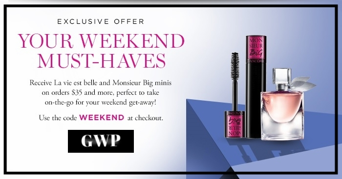 Lancôme ~ Weekend Must-Haves Receive La Vie est Belle and Monsieur Big minis on $35 orders with promo code: WEEKEND (Ends 9/17 at 11:59pm PDT)) Perfect to take on-the-go for your weekend get-away! + 1 free deulxe sample with order + Free shipping with $49 order