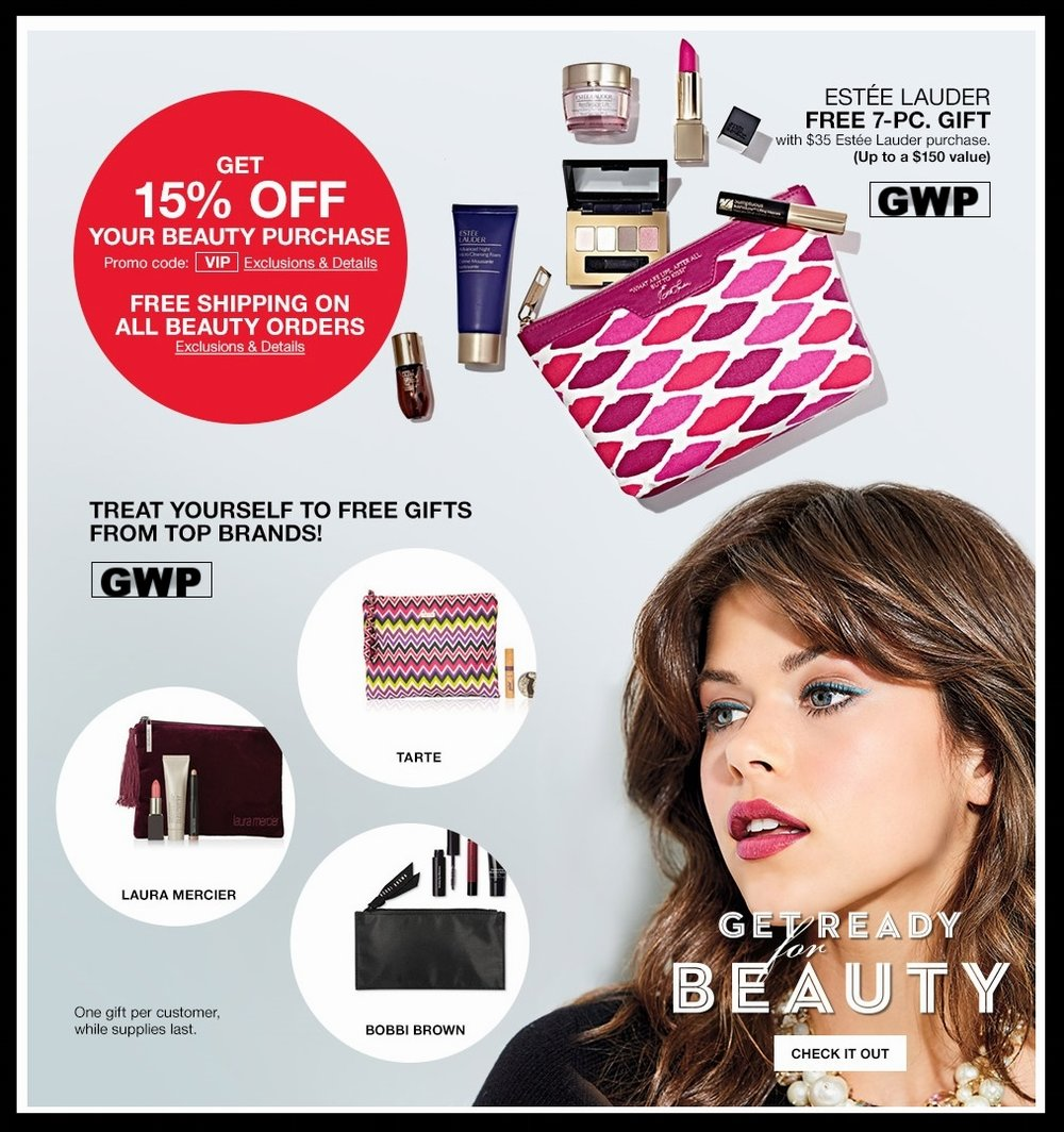 Macy's ~  Beauty - EXTRA 15% OFF  WITH PROMO CODE: VIP (Ends 9/25) +  Beauty Sale & Clearance Page  +  Lots of GWPs  + Free shipping and returns on any beauty order