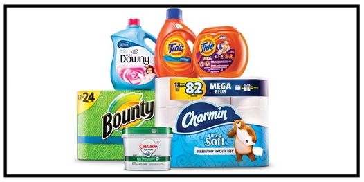 Target ~  $5 Gift Card when you buy 2 select Tide, Gain, Dreft, Downy and Bounce laundry care, or Bounty and Charmin paper products, or Cascade dishwasher detergent cleaning and essential items  + Free shipping with $35 order