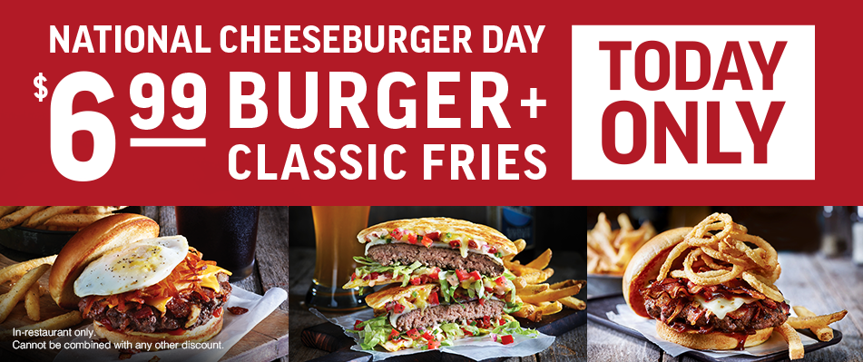 It's National Cheeseburger Day ~  Applebee's will be offering their burgers and classic fries for only $6.99! Find your  location !