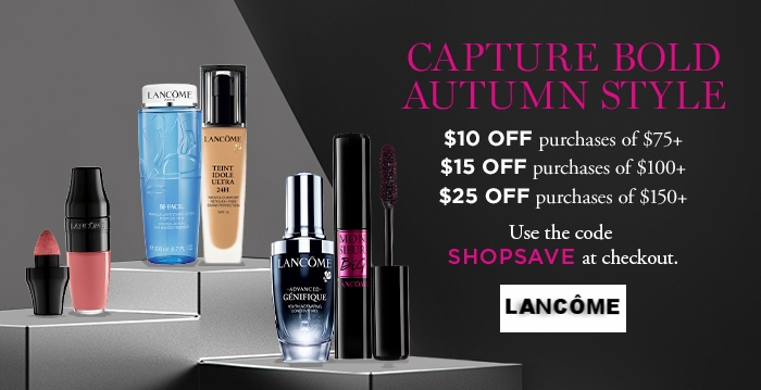Lancôme ~  MATTE SHAKER LIQUID LIPSTICK  $22 (28 shades) + $10 off $75+ / $15 off $100+ / $25 off $150+ with promo code: SHOPSAVE (Ends 9/22 at 11:59pm PDT) + Free 4-Piece Gift with $49 purchase and 1 Bonus Deluxe Sample with $75 purchase with promo code: STYLE + Free 2-Piece with $35 purchase with promo code: WEEKEND + 1 deluxe sample with every order + Free shipping with $49 order or Free 2-Day ShopRunner Shipping & Returns (Some items may not qualify for ShopRunner)  (Promo codes may or may not work together. They did for me at the time of posting this deal!)