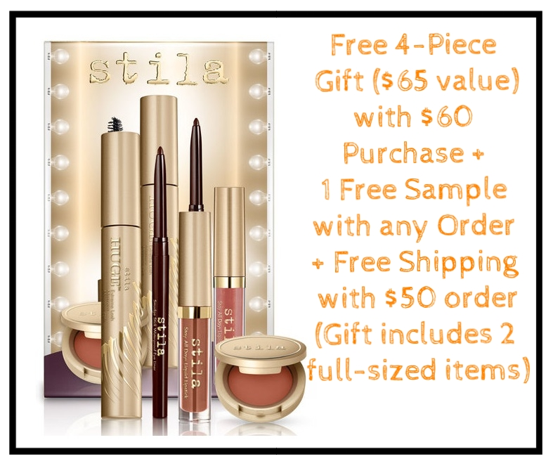 Stila  ~ Free Backstage Beauty Icons Set ($65 value) with any $60 purchase (No promo code needed) + Stay All Day® Foundation Multi-Shade Sample + Free shipping with $50 order   Free Backstage Beauty Icons Set ~ Secrets of the runway—revealed! Discover the iconic products our Pro makeup artists rely on time after time to create catwalk chic looks.  This curated collection of beauty must-haves makes it easy to translate the hottest makeup trends from runway to real life.   Your free gift includes:   Full-size Smudge Stick Waterproof Eye Liner in Damsel (blackish brown)  Full-size HUGE™ Extreme Lash Mascara  Deluxe-size Stay All Day® Liquid Lipstick in Dolce (nude cinnamon sheen)  Deluxe-size Convertible Color Dual Lip & Cheek Cream in Camellia (peachy brown)  A $65 value!