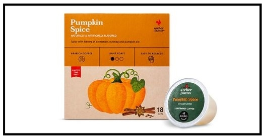 Target ~  Archer Farms Coffee 10–12 oz. ground or whole bean coffee $5.99 and 16–18-ct.K-Cups $8.99  + Free shipping with $35 order
