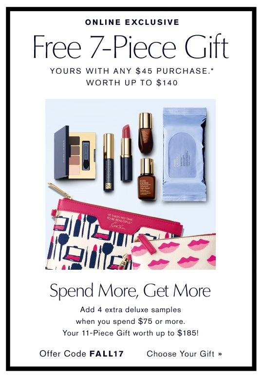 Estée Lauder  ~ Free 7-Piece Gift with any $45 purchase with promo code: FALL17 + Free 4 deluxe travel-size samples with $75 purchase + Free shipping and returns