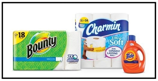Target ~  $10 Gift Card when you buy 3 select Tide, Gain, Downy, Dreft, Bounce & Clorox laundry care; Bounty & Charmin paper products; Cascade dishwasher detergent; Dawn dishwashing; or Swiffer cleaning household items . + Free shipping with $35 order