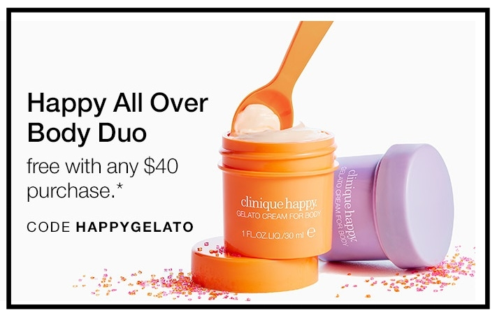Clinique  ~ Free All Over Body Duo with $40 purchase with promo code: HAPPYGELATO (Ends 11:59pm PST September 30, 2017)+ Free shipping with $50 order or free shipping for Smart Rewards Members (It's free to  join )