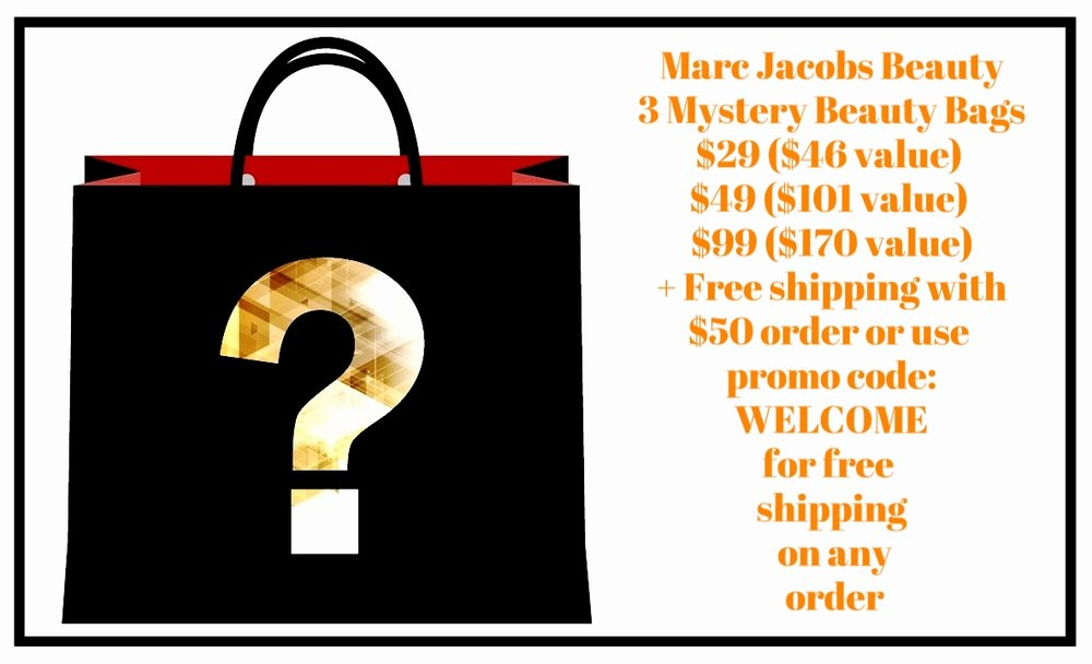 Marc Jacobs Beauty ~  3 Mystery Beauty Bags  ~ $29 ($46 value) / $49 ($101 value) / $99 ($170 value) + Free shipping with $50 order or use promo code: WELCOME for free shipping on any order