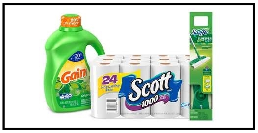 Target ~  $5 Gift Card when you buy 2 select Tide, Downy, Bounce, Gain, Clorox, Dreft, all, Shout & Cheer laundry care or Swiffer cleaning or Cascade dishwash or Charmin, Bounty, Puffs, Kleenex, Cottonelle, Scott, & Viva paper items  (Ends 10/7/2017 at 11:59 pm PT.) + Free shipping with $35 order