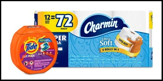 Target ~ $10 Gift Card when you buy 3 select  Charmin & Bounty paper products or Tide, Bounce, Downy, Gain, Dreft, Shout & Clorox laundry care or Cascade dish wash cleaning supplies items  (Some products are also 15% Off) + Free shipping