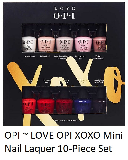 OPI LOVE OPI XOXO Mini Nail Laquer 10-piece Set    Costco  ~ (Member Only Item) $17.99 + Free shipping   or   Walmart  ~ $7.70 + $5.95 shipping or Free shipping with $35 order