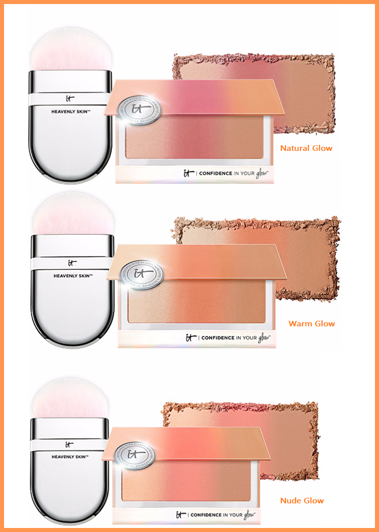 QVC ~  IT Cosmetics Confidence In Your Glow Blushing Bronzer & Brush  (3 Shades)   If Sold Separately: $80.00  QVC PRICE: $39.50  FEATURED PRICE: $35.92  + S&H: $3.00   Includes:   0.521-oz Confidence in Your Glow One-Sweep Wonder Powder and Heavenly Skin One-Sweep Wonder Brush   Nude Glow:  a sheer shade for the softest pretty glow   Natural Glow:  a rosy shade for a kiss of radiance and boost of warmth   Warm Glow:  a rich shade for deep color payoff and a gorgeous peachy-pink flush