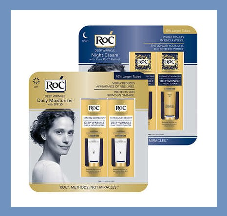 Costco ~ (No membership needed) ~ RoC® Retinol Correxion Daily Moisturizer or Night Cream  (1.1 fl oz., 2-count)$22.99 + Free shipping   1 - 1oz Deep Wrinkle Daily Moisturizer SPF 30 is $17.99 at  Target   1 - 1oz Deep Wrinkle Night Cream is $17.99 at  Target    RoC® RETINOL CORREXION® Deep Wrinkle Daily Moisturizer SPF30 for Anti-Aging:   RoC® RETINOL CORREXION® Deep Wrinkle Daily Moisturizer with Broad Spectrum SPF 30 for Anti-Aging helps protect skin from the sun's rays, which may contribute to premature aging and sun damage.   RoC® RETINOL CORREXION® Deep Wrinkle Night Cream:   RoC® RETINOL CORREXION® Deep Wrinkle Night Cream for Anti-Aging is an intensive anti-wrinkle treatment that works through the night, visibly reducing the appearance of expression lines and even deep wrinkles. This exclusive combination of pure RoC® Retinol and an essential mineral complex is clinically proven to visibly reduce the look of deep wrinkles while you sleep. During use, the upper layers of your skin are firmed leading to a visible reduction in expression lines. The formula starts to work as it immediately penetrates deep within the skin's surface to help fill in even your deep wrinkles.  Features:  RoC Day or Night With Retinol Deep Wrinkle Reducer  Oil-Free  Non-Comedogenic