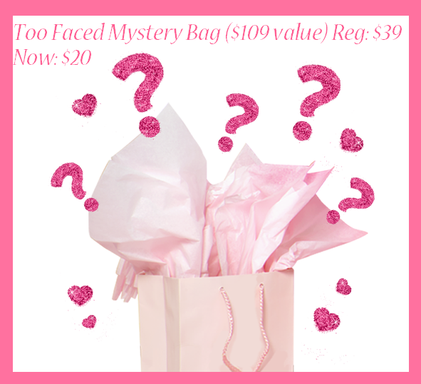 Too Faced Cosmetics ~  Up to 70% Off Sale Items  + 2 free samples with every order + Free shipping with $50 order or $5 with any order under $50  I recommend the  Too Faced Mystery Bag  ($109 value) Reg: $39 Now: $20