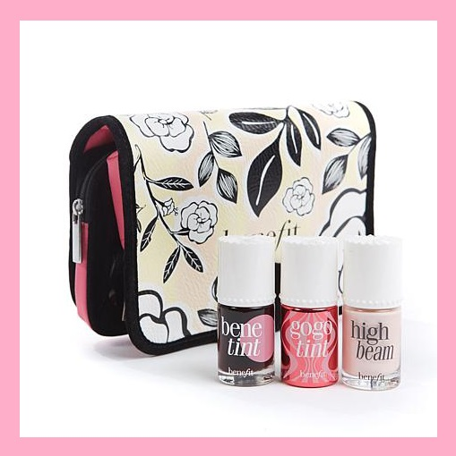 HSN ~ Benefit Cosmetics ~  Lip & Cheek Wardrobe with Bag  HSN Price: $55 Now: $49 + Free shipping    What It Is:   The ultimate lip and cheek wardrobe all packaged in a Benefit floral cosmetic bag.    What You Get:   .33 fl. oz. Benetint Lip & Cheek   .33 fl. oz. Go Go Tint   .33 fl. oz. High Beam  Floral bi-fold cosmetic bag