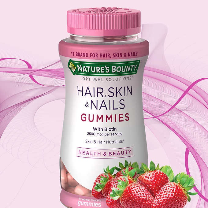 Costco ~  Nature's Bounty Hair, Skin, and Nails  (230 Gummies) $15.69 + Free shipping   (A 2-Pack - Nature's Bounty Optimal Solutions Hair, Skin, and Nails Gummies with Biotin, Strawberry Flavored 80 ea is $20.71 at  Walmart )   Features:  Biotin 2,500 mcg. per Serving  Antioxidants C & E  Strawberry Flavor