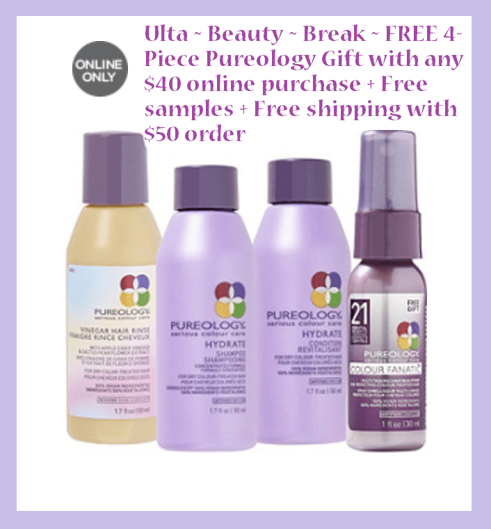 Ulta ~ Beauty ~ Break ~  FREE 4- Piece Pureology Gift with any $40 online purchase  (Just add to cart) + Free samples + Free shipping with $50 order