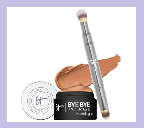 QVC ~  IT Cosmetics Bye Bye Under Eye Concealing Pot with Brush  (6 Shades)   If Sold Separately: $52.00  QVC PRICE: $38.00  FEATURED PRICE: $34.56  + S&H: $3.00    Includes:   0.17-oz Bye Bye Under Eye Concealing Pot  Heavenly Luxe Dual-Ended Concealer Brush