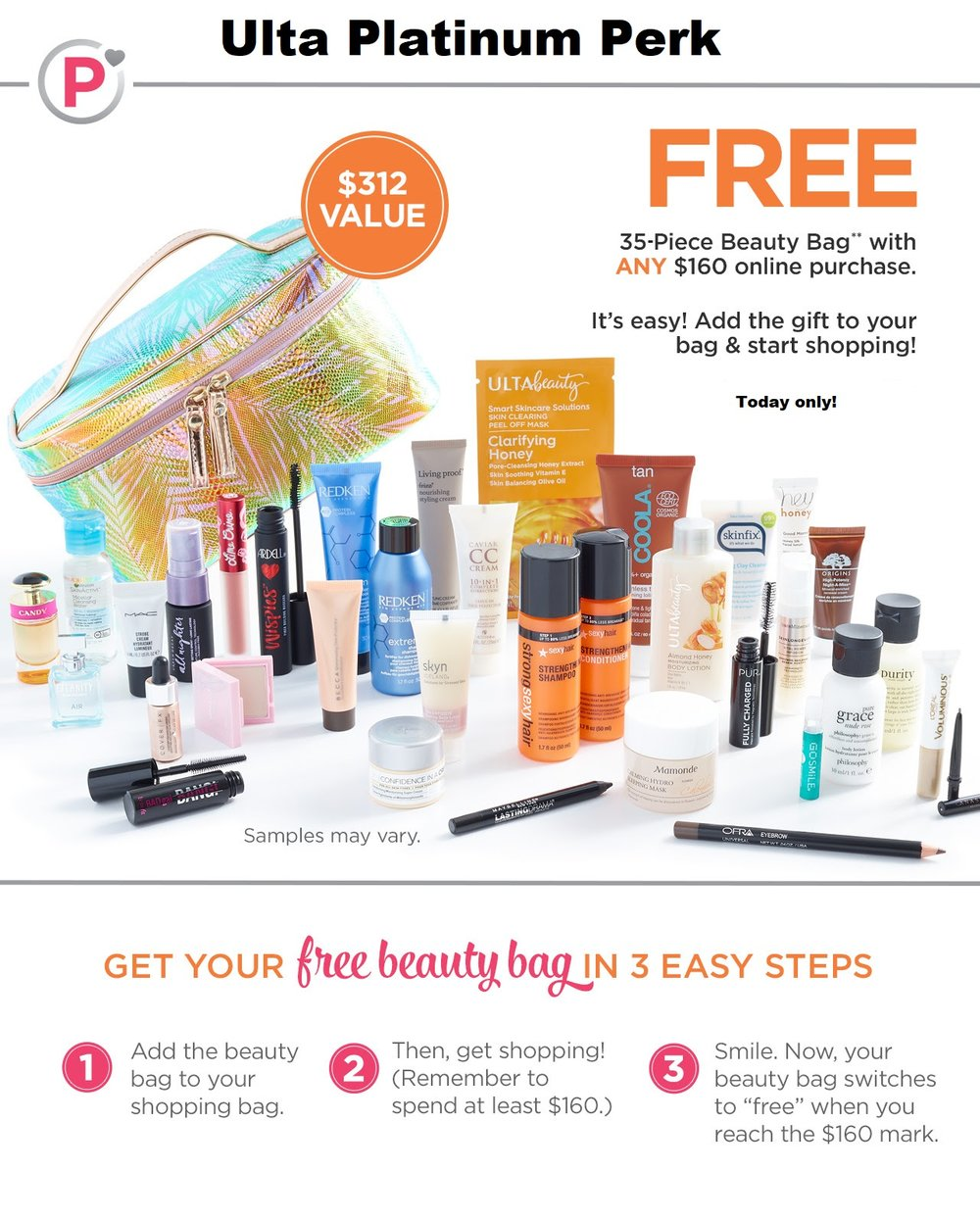 Ulta ~ Platinum Perk ~  Free 35-Piece Gift with any $160 Online Purchase  (Just add to cart) + Free samples + Free shipping with any $50 Order