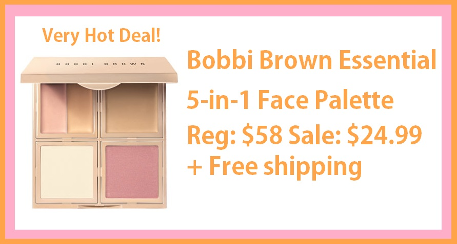 QVC ~  Bobbi Brown Essential 5-in-1 Face Palette   QVC Price: $58  BEAUTY IQ STEAL™: $24.99  + Free Standard S&H   Includes:   0.04-oz Corrector  0.04-oz Concealer  0.08-oz Skin Foundation Stick  0.09-oz Sheer Finish Pressed Powder  0.14-oz Bronzing Powder
