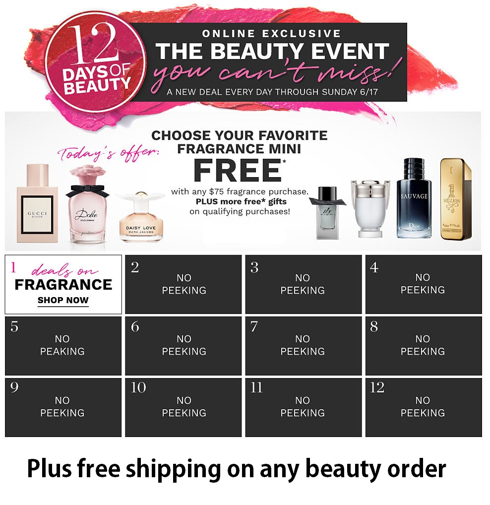 Belk ~ 12 Day of Beauty Deals ~  Day 1: Free Fragrance Mini with Select $75 Fragrance order  + Free shipping with any beauty order