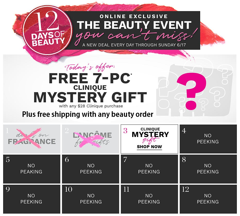 Belk ~ 12 Day of Beauty Deals ~ Day 3:  Clinique GWP  ~ Free 7-Piece Clinique Gift with any $28 Clinique Purchase + Free shipping with any beauty order