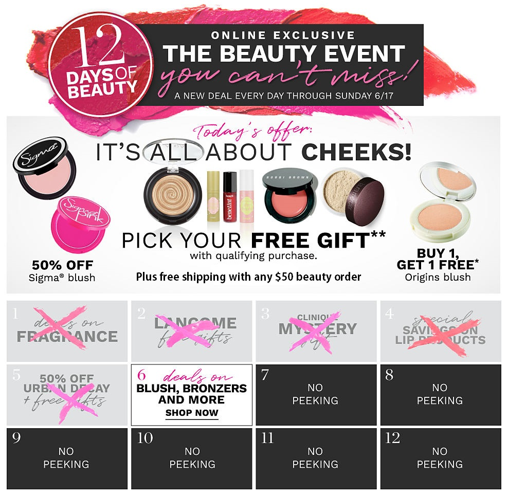 Belk ~ 12 Day of Beauty Deals ~ Day 6:   Deals on Blush, Bronzers, & More   + Free shipping with any beauty order