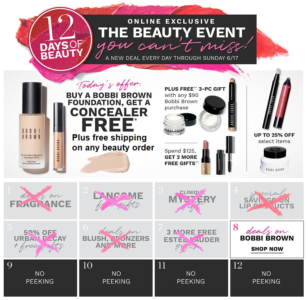 Belk ~ 12 Day of Beauty Deals ~ Day 8:   Deals on Bobbi Brown    + Free shipping with any beauty order