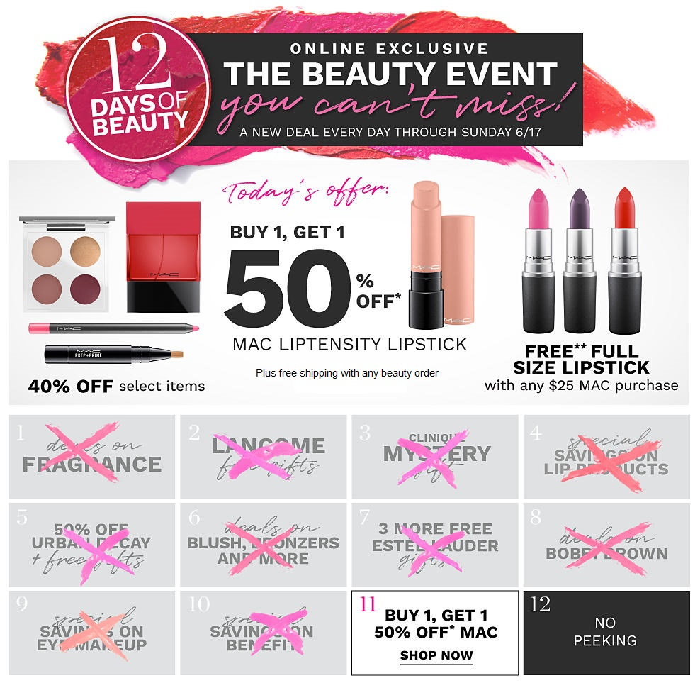 Belk ~ 12 Day of Beauty Deals ~ Day 11:  Deals on  M·A·C Cosmetics   + Free shipping with any beauty order