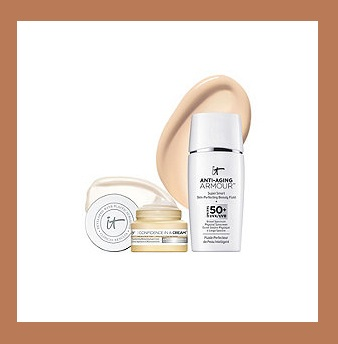 QVC  ~   IT Cosmetics Anti-Aging Armour SPF 50 w/ Confidence In A Cream Duo    QVC PRICE:$38.00  FEATURED PRICE: $34.81  + S&H: $3.00    Includes :  1.0-fl oz Anti-Aging Armour Skin Perfecting Beauty Fluid  0.237-fl oz Confidence in a Cream Transforming Moisturizing Super Cream