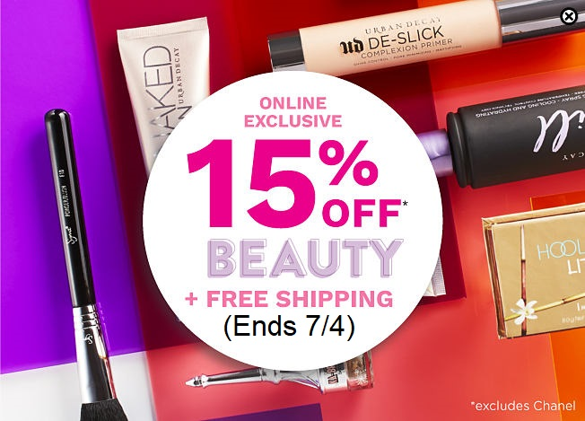 Belk ~  Extra 15% Off  Regular-Priced Beauty Purchase  (Excludes Chanel ~  Ends  7/4) + Free shipping on any beauty order
