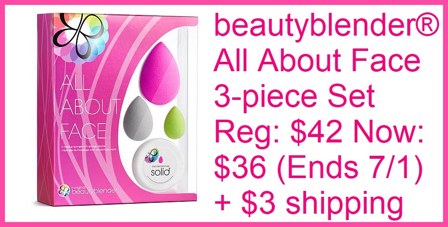 HSN ~  beautyblender® All About Face 3-piece Set   Reg: $42  Now: $36 (Ends 7/1)  + $3 shipping   What It Is:   Ultimate trio of water-activated makeup master tools to meet all of your beauty needs, plus a mini blendercleanser solid to keep all three blenders in top shape    What You Get:   Original pink beautyblender sponge  Gray beauty.blusher sponge  Lime green micro.mini sponge  .588 oz. Mini solid blender-cleanser sample