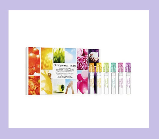 Von Maur ~ Clinique 6-Piece My Happy™ Discovery Set  $8 + Free shipping, free returns, and free gift wrapping   What it is:   A discovery set of 6 layerable scents.   What it does:    Create your own scent story with Clinique My Happy™. Mix your own memories. 6 layerable scents. No rules.   Great to know:   Allergy tested. No parabens. No phthalates. Dermatologist-tested. Just happy skin.   Set Includes:   0.05 fl. oz. Clinique My Happy™ Peace & Jasmine  0.05 fl. oz. Clinique My Happy™ Peony Picnic  0.05 fl. oz. Clinique My Happy™ Lily of the Beach  0.05 fl. oz. Clinique My Happy™ Cocoa & Cashmere  0.05 fl. oz. Clinique My Happy™ Blue Sky Neroli  0.05 fl. oz. Clinique My Happy™ Happy Splash