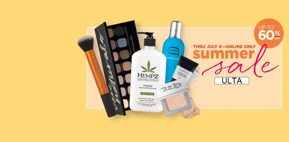 Ulta ~  Up to 60% Off Summer Sale  (Ends 7/4) + Free samples + Free shipping with $35 order