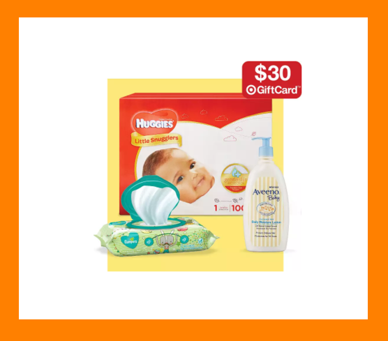 Target ~  $30 gift card when you spend $100 on select baby care items  (Ends 7/14/2018 at 11:59 pm PT.) + Free shipping with any $35 order