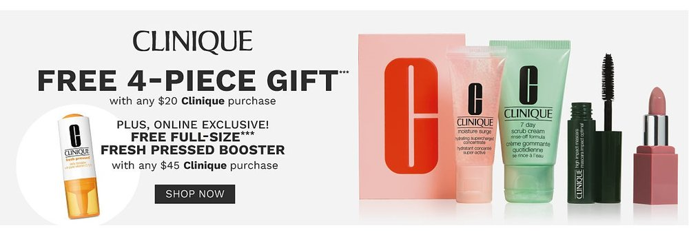 Belk ~  Clinique  ~ Free 4-Piece Clinique Gift with any $20 Clinique Purchase + Fee Full-Size Fresh Pressed Booster ($19.50 value) with any $45 Clinique Purchase+ Free shipping on any beauty order