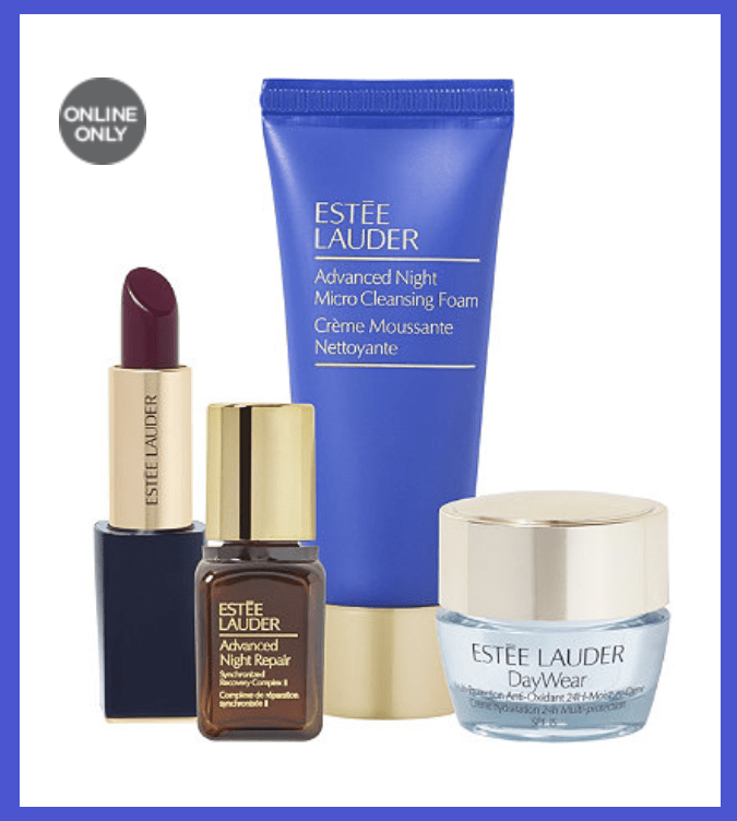 Ulta ~ Beauty ~  FREE 4-Piece Estée Lauder Gift  ($60 value) with any $50 online purchase (Just add to cart) + Free samples + Free shipping with $50 order   Gift includes:   Full-Size Pure Color Envy Sculpting Lipstick In Insolent Plum (0.12 oz)  Travel-Size Advanced Night Micro Cleansing Foam (1.0 oz)  DayWear Multi-Protection Anti-Oxidant 24H Moisture Crème SPF 15 Mini (0.24 oz)  Advanced Night Repair Synchronized Recovery Complex II Mini (0.24 oz)