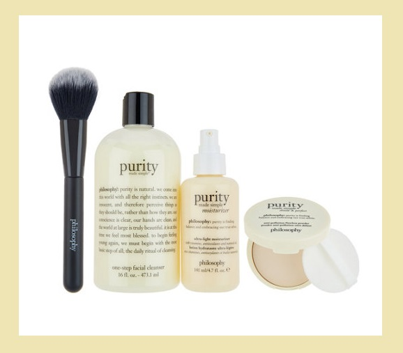 QVC ~  philosophy purity: prep & perfected 4-piece skincare system   If Sold Separately: $120.00  QVC PRICE: $71.50  BEAUTY IQ STEAL™: $59.00  + Free Standard S&H   Includes:   16-fl oz purity made simple one-step facial cleanser  4.7-fl oz purity made simple ultra-light moisturizer  0.38-oz purity made simple shield & perfect flawless powder  Complexion brush  Brush imported