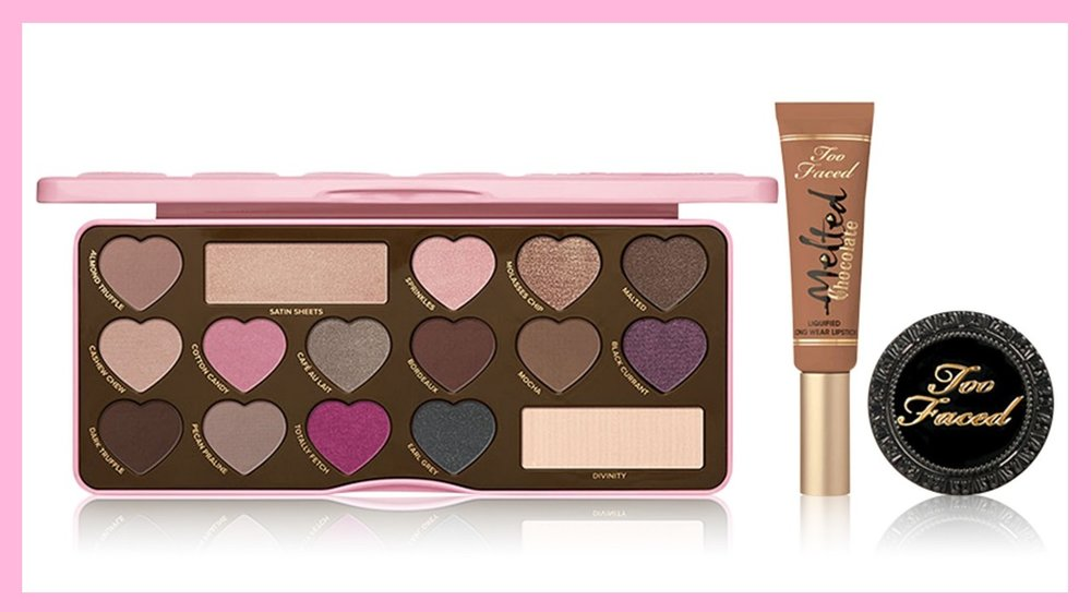 Macy's ~  Too Faced 3-Piece Make Me Delicious Makeup Set  ($82 value ~ Created for Macy's) $41  + Free Makeup Organizer with any $50 Impulse Beauty Purchase including Too Faced While supplies last!) +FREE SHIPPING & RETURNS  Indulge your deepest chocolate cravings with this set including the iconic Chocolate Bon Bons Eye Shadow Palette, a candy-coated confection of 16 matte and shimmer shades including cool pops of color, sugary brights and gorgeous go-to neutrals. Coat your lips in long-lasting decadence with Melted Chocolate Liquified Lipstick and dust on the iconic Chocolate Soleil Bronzer for that perfect allover glow.   This set includes:   Chocolate Bon Bons Eye Shadow Palette  Melted Chocolate Liquified Lipstick - Honey  Deluxe Size Chocolate Soleil Bronzer  Chocolate Bon Bons Eye Shadow Palette contains 16 matte and shimmer shadows infused with 100% real cocoa powder  Melted Chocolate Liquified Lipstick comfortably coats lips in bursts of intense color  Chocolate Soleil Bronzer is perfect for achieving a buildable, allover matte tan  Created for Macy's